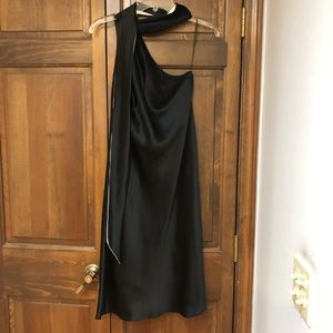 One shoulder gown black silver two tone scarf